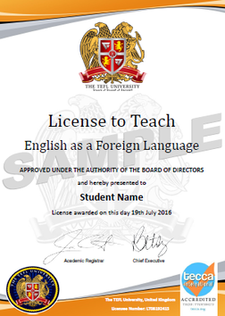 The TEFL University Intended Certificate Samples