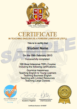 120 Hour TEFL Certificate  Certificate Samples
